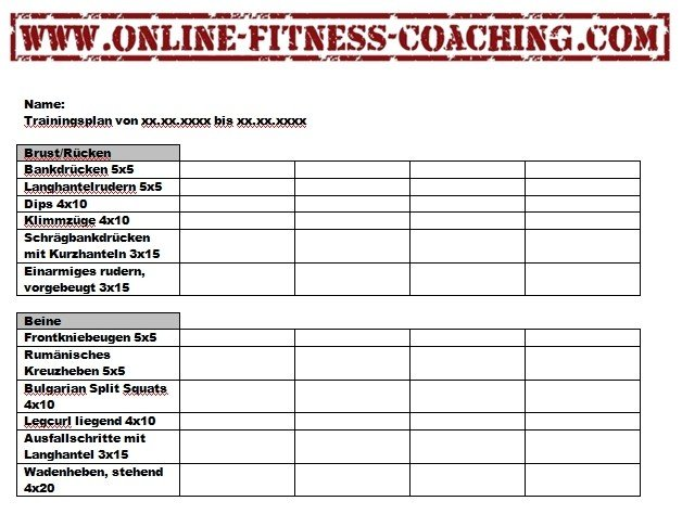 Trainingsplan | Online-Fitness-Coaching.com