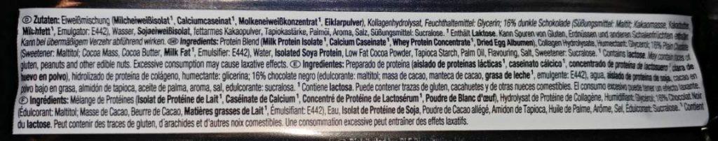 Weider 52% Protein Bar Test Zutaten