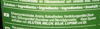 Zutaten Erbsenprotein
