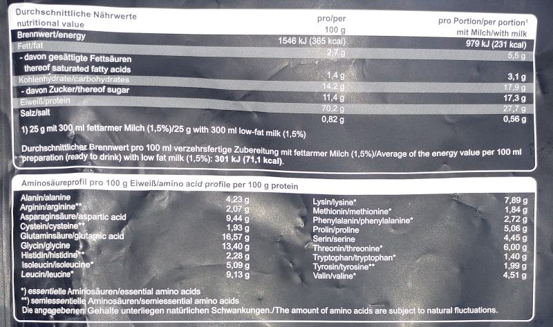 Review Mammut Whey Test Nährwerte Inhaltsstoffe