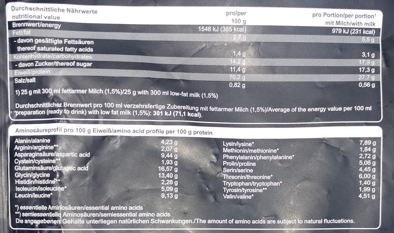 Nährwerte Aminoprofil Mammut whey