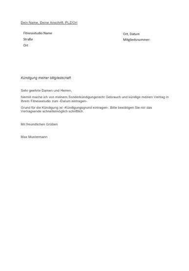 Fitnessstudio Kündigung Gründe Muster Vorlage Zum Ausdrucken
